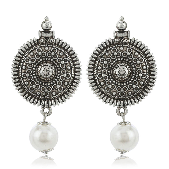 Estele Oxidized Silver Plated Sun Shape With White Pearl Drop earrings for Women, Girls
