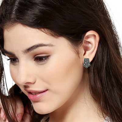 Oxidized Silver Plated Stud Earrings
