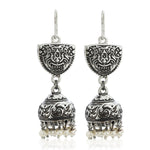 White drop beads Jhumka Earrings