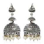 White beaded drop Jhumka Earrings
