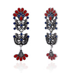 Silver Oxidised  Multicolour Meenakari Floral Earrings