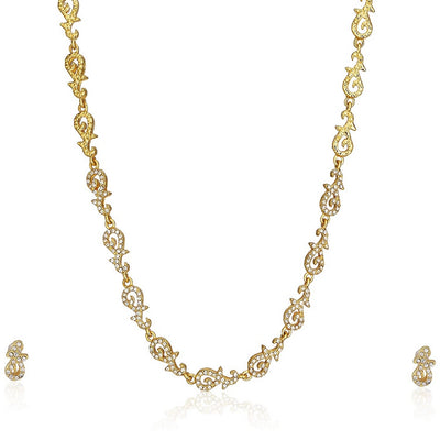 Estele 24 Kt Rose Gold Plated CZ Pearl Swan Necklace Set for Women