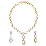Opal Hoop Y Shaped Necklace Set