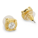 White Stone Round Stud Earrings