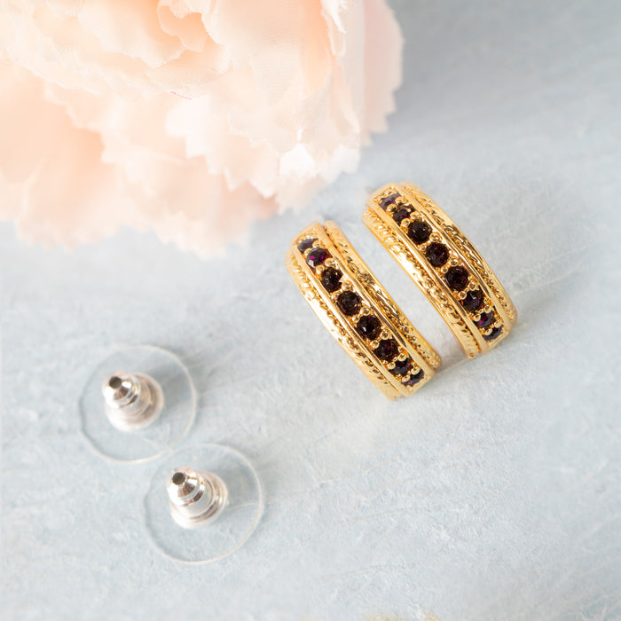 Candy Crystal Collection Gold Plated Magenta Crystal Stud Earrings