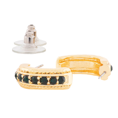 Candy Crystal Collection Gold Plated Green Crystal Stud Earrings