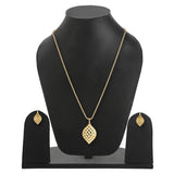 Gold Tone Plated Pendent Set With Earrings