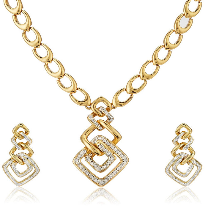Estele 24 Kt Gold Plated Wedding Jewellery Austrian Diamond Necklace Set For Women