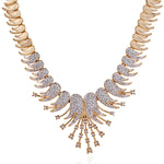Modern Gold and silver plated Signature Starbust in Austrian Crystal Necklace Set