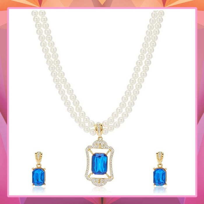 Estele AD Crystal Pearl Necklace Set with blue stones for Women & Girls