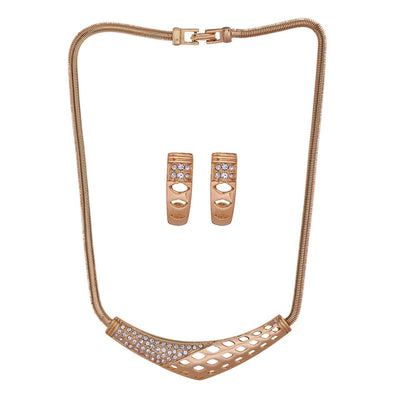 Estele 24 Kt Gold Plated Two- Tone Boomerang Necklace Set for Women
