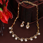 Estele Gold Plated Pearl Drop Necklace Set