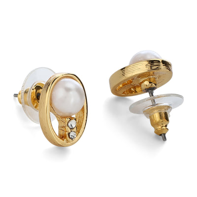 Gold Tone Plated Ovel Shaped Pearl Stud Earrings