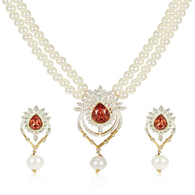 Estele Latest Pearl Design Necklace Set for Women Traditional Jewellery Set for Women