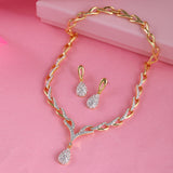 Valentine Collection 24 CT gold plated American Diamond Necklace Set