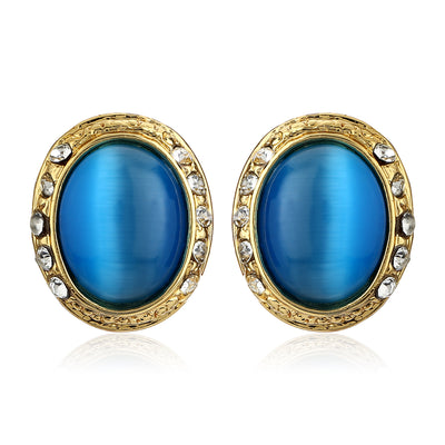 Blue Enamel Round Stud Earrings