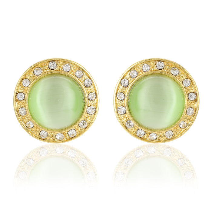 Green Enamel Round Stud Earrings