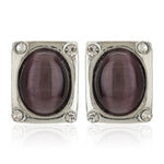 Silver Tone Plated Square Shaped Stud Earrings