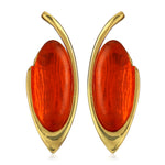 Gold Tone Plated Red Enamel Earrings