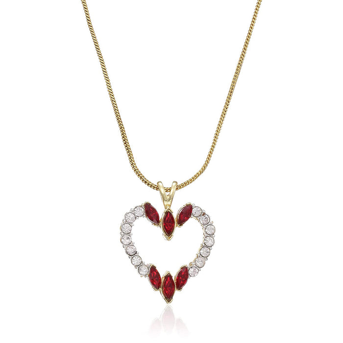 Estele gold chain with red and white stone studded heart shape pendant for women