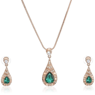 Estele gold plated Crystal CZ Statement Chain Pendant Earrings Set for Women