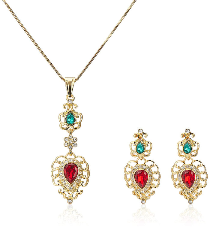 Estele -gold plated Stunning Ruby and Emerald stone pendant Set for Women