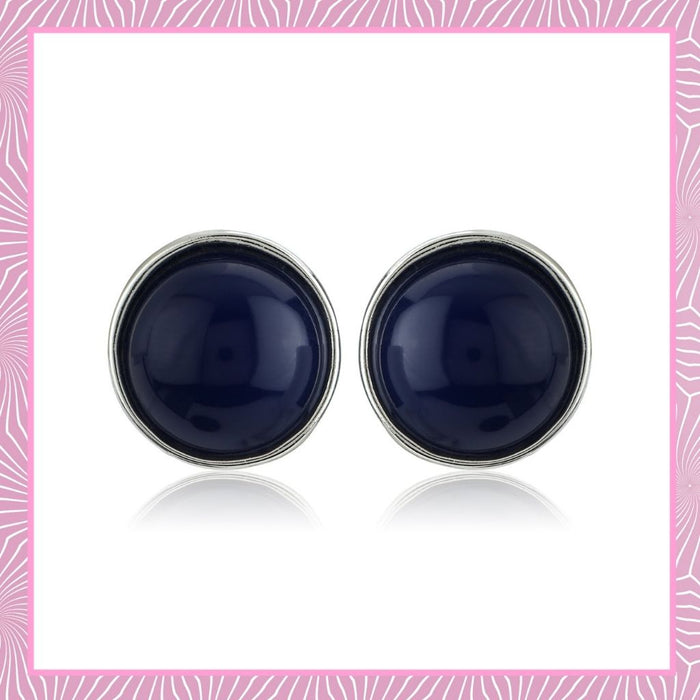 Blue Colour Round Stud Earrings