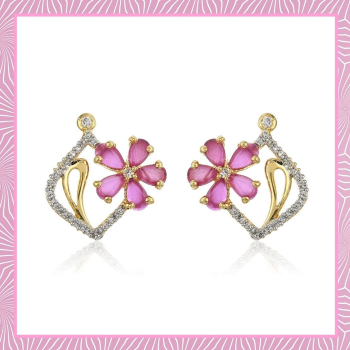 Flower Shaped With Pink & White Ad Stone Earrings