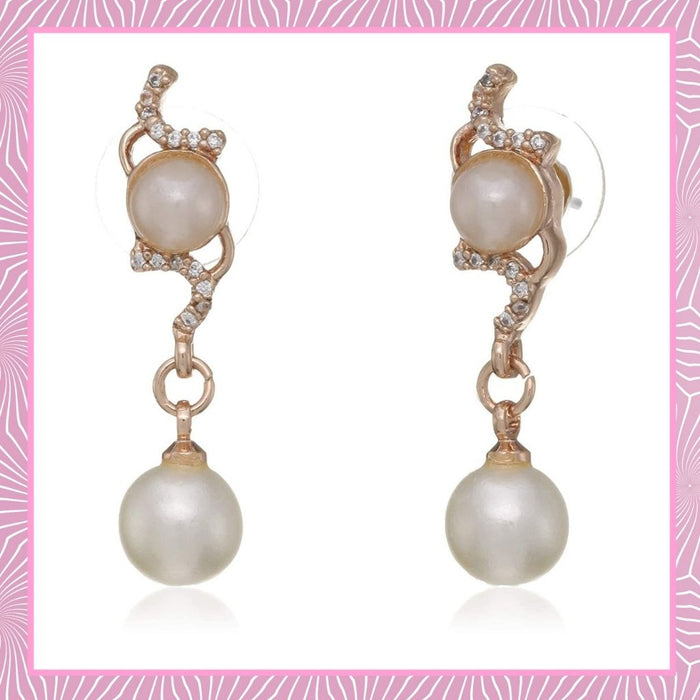Estele  gold Plated American Diamond Pearl flower Drop Earrings
