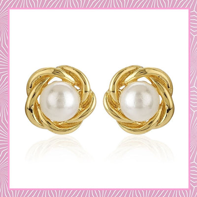 White Flux Pearl Small Stud Earrings
