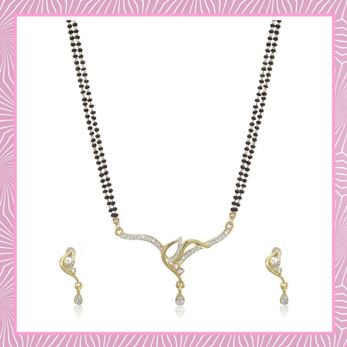 Estele 24 Kt Gold and Silver Plated Together Double Line Mangalsutra Necklaces