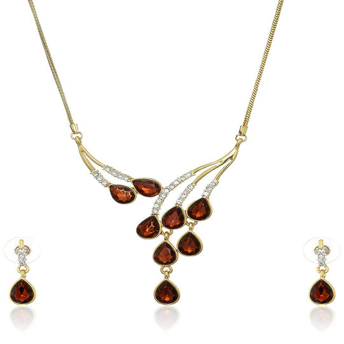 Estele Trendy and Fancy Ruby stone and Diamond Necklace Set for Women