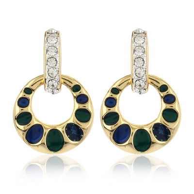 Blue And Green Enamel Colured Round shaped Pendant set