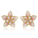 Flower Shaped White Enamel Earrings