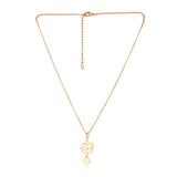 Charming Rose Gold Plated Solitaire Floral Pearl Drop Necklace