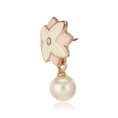 Charming Rose Gold Plated Solitaire Floral Pearl Drop Pendant Necklace