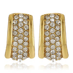 Gold Tone Plated White Crystl Stone Stud Earrings