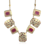 Satin Matt Imitation Gold Tone Plated Pink Enamel Necklace Set