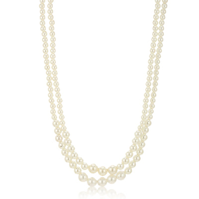 Double line White Pearl Necklace