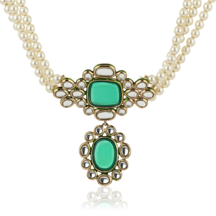 Estele Stunning Emerald and Kundan Choker Set with Pearls for Women