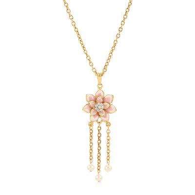 Rose Gold Plated Flower petal Rhinestone Pearls Drop Pendant Necklace set