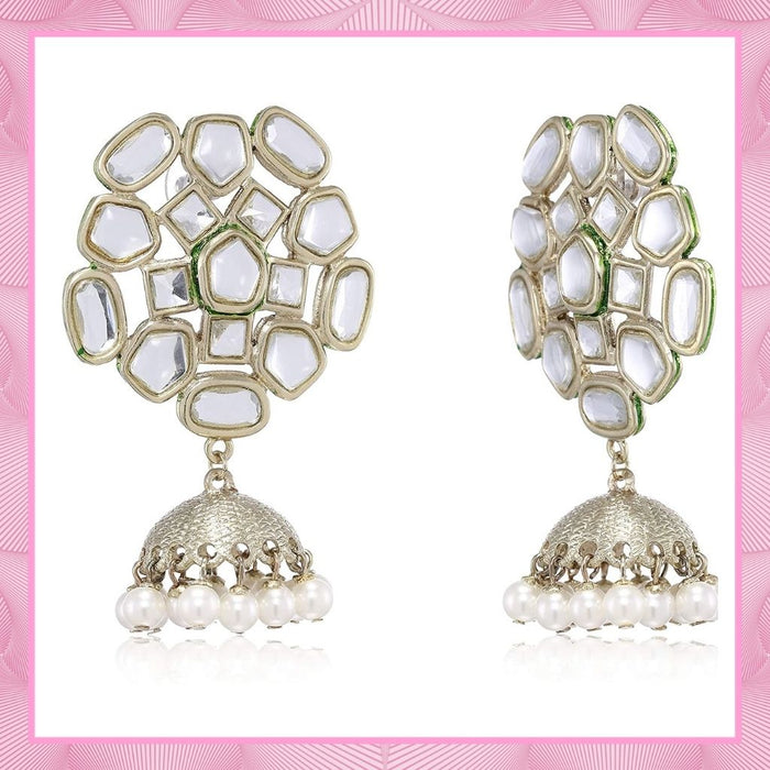 Ethnic White Mirror Kundan Jhumki For Women
