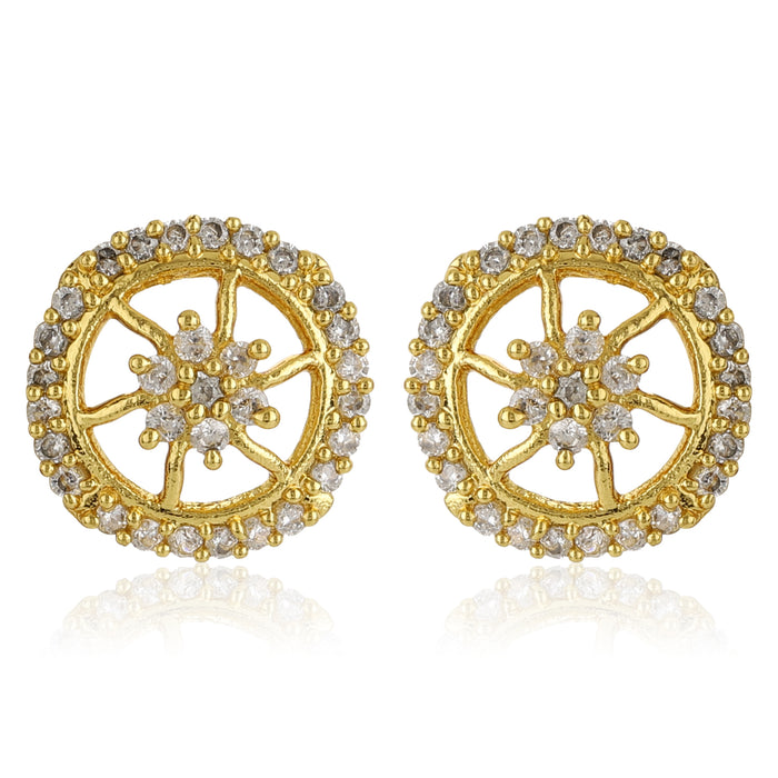 Gold Plated AD Stone Round Stud Earrings
