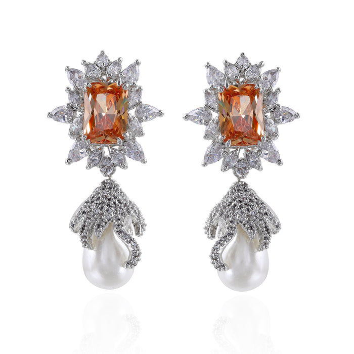 Floral Drop Silver Plated Cubic Zirconia Crystal Earrings