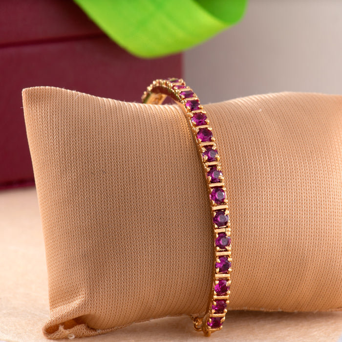 24Kt Gold Plated Candy Bracelet with Pink American Diamonds Bracelet