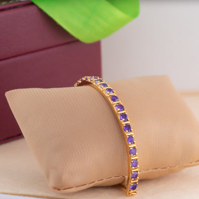 24Kt Gold Plated Candy Bracelet with Blue American Diamonds Bracelet