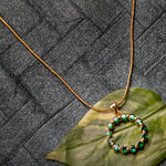 24Kt Gold Plated Trendy Candy Pendant with fancy Green Crystals for Women