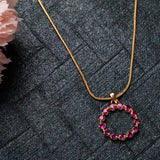 24Kt Gold Plated Trendy Candy Pendant with fancy Pink Crystals