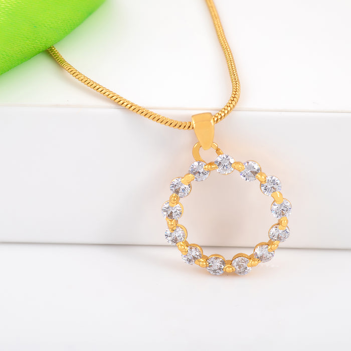 24Kt Gold Plated Trendy Candy Pendant with fancy White Crystals for Women