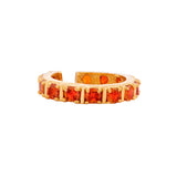 Fancy gold plated band ring with multiple square orange american diamonds (adjustable)